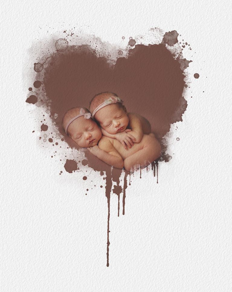 Novorozená dvojčátka a příklad zpracování pro tištěné fotografie.