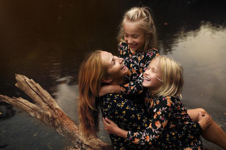 Dcerky s maminkou při focení